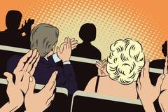 Mensen in retro stijlpop-art en uitstekende reclame Het slaan van mensen in het auditorium stock illustratie