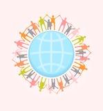 Mensen rond de handen van de wereldholding. Illustratio van het eenheidsconcept Stock Foto's