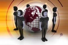 Mensen rond een bol die sociaal voorzien van een netwerk vertegenwoordigt Royalty-vrije Stock Foto's