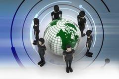 Mensen rond een bol die sociaal voorzien van een netwerk vertegenwoordigt Stock Foto's