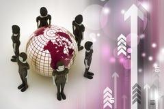 Mensen rond een bol die sociaal voorzien van een netwerk vertegenwoordigt Royalty-vrije Stock Afbeeldingen
