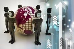 Mensen rond een bol die sociaal voorzien van een netwerk vertegenwoordigt Royalty-vrije Stock Foto