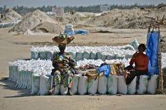 Mensen in Senegal met zakken Stock Fotografie