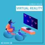 Mensen Sit Around van Televisie het Spelen Videospelletje royalty-vrije illustratie