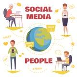Mensen in Sociaal Media Ontwerpconcept Stock Afbeelding