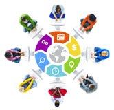 Mensen Sociaal Voorzien van een netwerk en Globaal Netwerkconcept Royalty-vrije Stock Foto