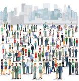 Mensen in stad stock illustratie
