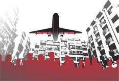 Mensen, stad en vliegtuig vector illustratie