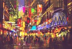 Mensen in stadsstraat met verlichting en nachtleven vector illustratie