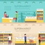 Mensen in supermarkt Vector vlakke illustratie Kruidenierswinkelopslag Royalty-vrije Stock Afbeelding