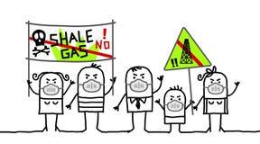 Mensen tegen schaliegas stock illustratie