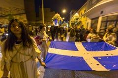 mensen tijdens de viering van Orthodoxe Pasen - Vespers op Grote Vrijdag Stock Foto