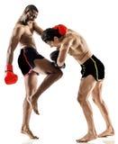Mensen van bokser de in dozen doende kickboxing muay Thaise kickboxer Stock Foto's