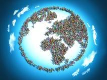 Mensen van boven het vormen van de vorm die van de aardebol worden gezien Stock Foto