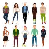 Mensen van de beeldverhaal de jonge manier royalty-vrije illustratie