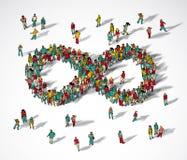 Mensen van de de menigte de grote groep van het oneindigheidssymbool vector illustratie