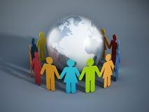 Mensen van de verenigde Aarde Stock Afbeelding