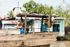 Mensen van Mekong Delta, Cai Be, Vietnam Stock Afbeelding