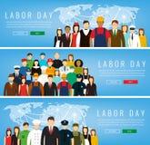 Mensen van verschillende beroepen Geplaatste beroepen Internationale Dag van de Arbeid Stock Foto's