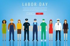 Mensen van verschillende beroepen Geplaatste beroepen Internationale Dag van de Arbeid Het malplaatje van de conceptenwebsite Vla Royalty-vrije Stock Afbeelding