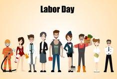 Mensen van verschillende beroepen Geplaatste beroepen Internationale Dag van de Arbeid Het malplaatje van de conceptenwebsite Vla Stock Afbeeldingen