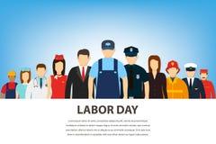 Mensen van verschillende beroepen Geplaatste beroepen Internationale Dag van de Arbeid Vlakke vector Royalty-vrije Stock Foto