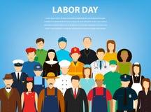 Mensen van verschillende beroepen Geplaatste beroepen Internationale Dag van de Arbeid Vlakke vector Stock Fotografie