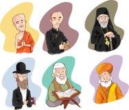 Mensen van verschillende godsdienst in traditionele kleding Islam, judaism, boeddhisme, orthodox, katholiek, hinduismillustratie stock illustratie