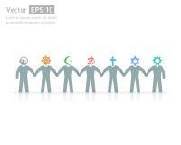 Mensen van verschillende godsdiensten Godsdienst vectorsymbolen en karakters vriendschap en vrede voor verschillende credo's Royalty-vrije Stock Fotografie