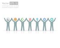 Mensen van verschillende godsdiensten Godsdienst vectorsymbolen en karakters vriendschap en vrede voor verschillende credo's Stock Afbeeldingen