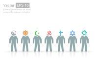 Mensen van verschillende godsdiensten Godsdienst vectorsymbolen en karakters vriendschap en vrede voor verschillende credo's stock illustratie