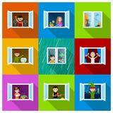 Mensen in Vensters Stock Foto's