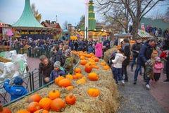 Mensen in verfraaid park op Halloween-vakantie Pompoenen als hoofddecoratie 112 02 2018 royalty-vrije stock foto's