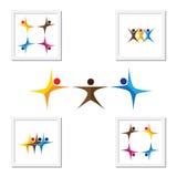 Mensen, vrienden, pictogrammen van het kinderen de vectorembleem en ontwerpelementen Royalty-vrije Stock Foto