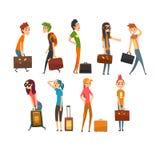 Mensen zware geplaatste koffers dragen, jonge man en vrouw die op de vectorillustratie van het vakantiebeeldverhaal op een wit re vector illustratie