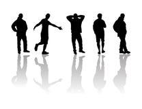 Mensen zwart silhouet Stock Afbeeldingen