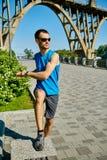 Mensenagent die vóór jogging opwarmen Stock Afbeelding