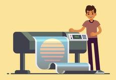 Mensenarbeider bij plotter die de brede vectorillustratie van de formaat grote banner drukken vector illustratie