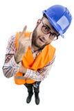 Mensenarbeider met groot hoofd Royalty-vrije Stock Foto's