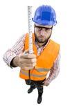 Mensenarbeider met groot hoofd Stock Foto's