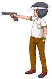 Mensenatleet die jachtgeweer schieten Stock Fotografie