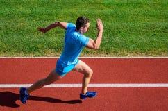 Mensenatleet in werking om wordt gesteld om groot resultaat te bereiken dat Snelheid opleidingsgids Lijstmanieren om lopende snel royalty-vrije stock afbeelding