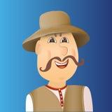 Mensenavatar cossack met spie, snor Mens in vest, Royalty-vrije Stock Afbeelding