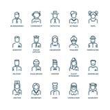 Mensenavatars, karakterspersoneel, beroepen Vector lineaire pictogrammen Royalty-vrije Stock Afbeeldingen