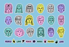 Mensenavatars krabbelflarden, Reeks kleurrijke stickersmensen, Grappige gezichten van mannen en vrouwen Hand-drawn portretten van stock illustratie