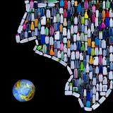 Mensenbeschaving die aarde bedreigen Stock Afbeelding
