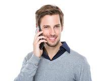 Mensenbespreking aan mobiele telefoon Royalty-vrije Stock Foto's