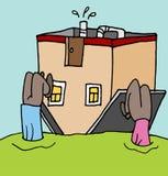 Mensenbovenkant - neer op hun huishypotheek Stock Foto's