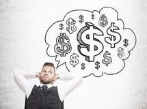 Mensendagdromen over geld stock fotografie