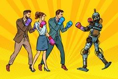 Mensendoos met een robot Het mensdom en nieuwe technologieën vector illustratie